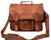 Large Leather Satchel  Messenger Bag  School or Work Bag  By MAHI Leather