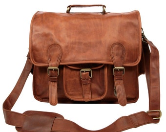 Large Leather Satchel - Messenger Bag - School or Work Bag - By MAHI Leather