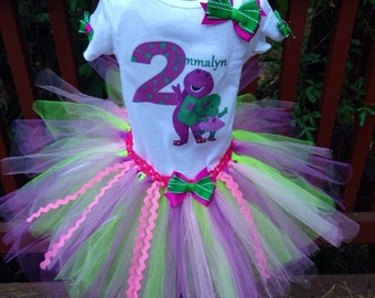 Barney and baby bop birthday tutu set
