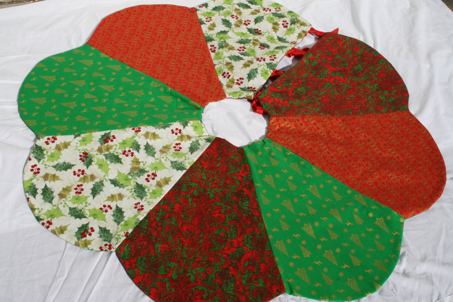 Reversible christmas tree skirt handmade quilted multiple
