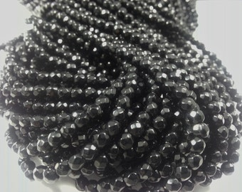 4 mm , Black Onyx Faceted, 15 inches
