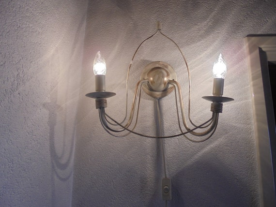 Vintage wall light with 2 candle lamps/metal Wall lamp/wall