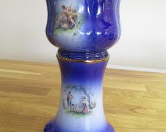 blue vintage klm small jardiniere, staffordshire plant pot , planter ref4