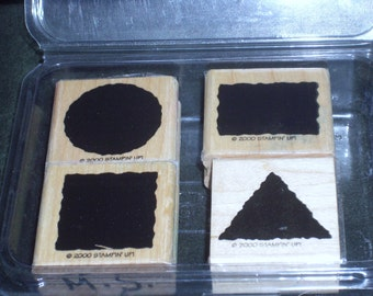 Stampin' Up Stamp Set, Wooden Block Solid Shapes Stamps, Circle Rectangle Square Triangle Shapes, Scrapbooking Stamps, Card Making Stamps