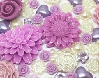 Rosey's Craft Shops 100 x Mixed Flatbacks Ivory Lilac Purple tones cardmaking craft embellishments