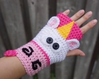PATTERN ONLY Crochet Unicorn fingerless gloves, cute animal armwarmers, wristwarmers, kawaii cute gloves pattern size adult women/teens