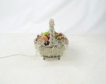 Vintage Glass Fruit Basket Lamp