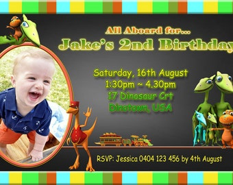Dinosaur Train Birthday Party Invite - 4x6 or 5x7 size - You Print and Save
