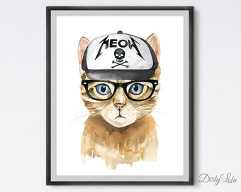Cat Watercolor Painting  - Metal Cat - Cat Art - Hipster Cat - Animal Art - Cat with glasses - Anthropomorphic