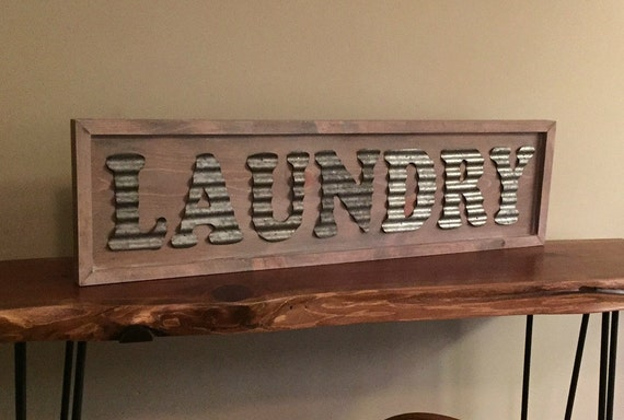 Corrugated Metal Laundry Sign White Washed By
