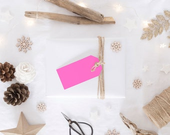 Neon Pink Gift Tags
