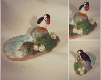 Puffin. Polymer clay figurine