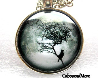 Necklace cat on tree necklace cat on tree full moon cabochon necklace