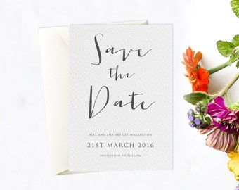 Calligraphy Save the Date Card. Simple save the date card.