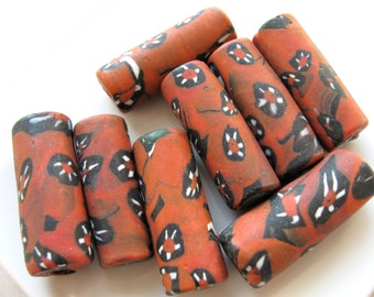 Glass tube beads, 4 beads, Terra Cotta, navy blue and white, 35 to 37mm long, focal beads - 564