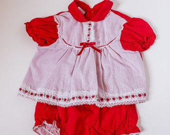 Vintage Red Cotton Infant Dress with Bloomers