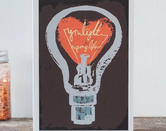 Electric Love - You light up my life - a blank romantic card for a man or non fluffy woman - can be personalised inside and sent direct