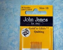 John James, Gold'n Glide, size 10, quilting needles, gold eye, 10 needles per card.