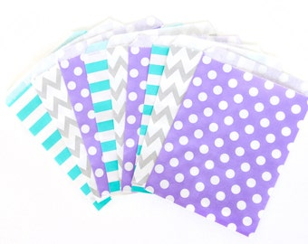 Frozen Treat Bags in Chevron Dot and Stripe , Silver Treat Bags, Silver Popcorn Glitter Girls Birthday Paper