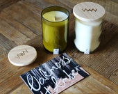 Recycled wine bottle candle - Oakmoss + Amber soy wax with wood wick