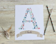 Personalised Name Print, Initial Print, Floral Nursery Decor, Floral Letter Print, Personalised Baby Shower Gift, Personalized Nursery Decor
