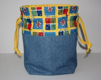 Drawstring Knitting Project Bag - Yellow and flowers