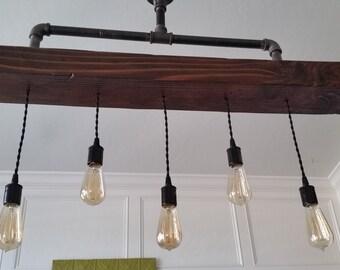 Steel Pipe Chandelier with Rustic Wood Beam Pendants - Industrial Farmhouse Ceiling Light - Edison Pendants