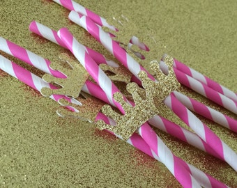 Pink paper straws with gold crown 12piece