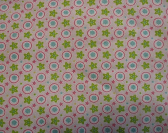 Pink, lime green, and blue Cotton print