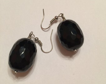 Earrings - black Agate stone