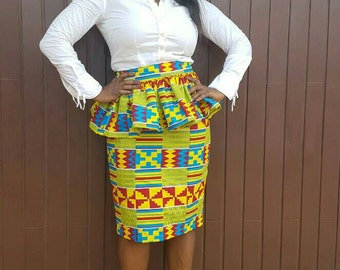 Kente Print  Peplum Skirt Set / Pencil Skirt/ Ready to ship