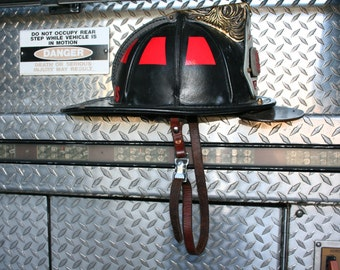 Firefighter Custom Leather Chin Strap - BROWN