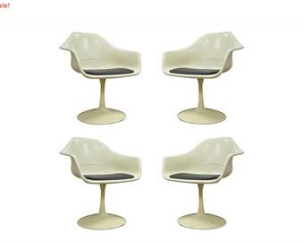 10% Off Sale! 4 Vintage Mid Century Modern Tulip Base Dining Arm Chairs Saarinen Burke Style