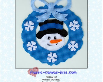Winter Wreath with Snowman-Plastic Canvas Pattern-PDF Download