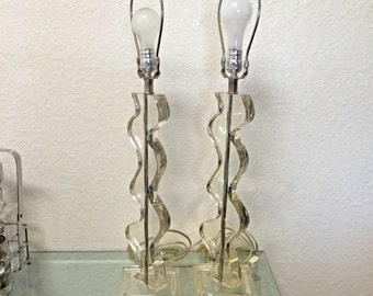SUPER SALE!! Vintage Lucite Table Lamps - Lucite Squiggle Design - Set of Two Lamps
