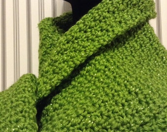 Green Sparkling Long Scarf, Handmade Scarf