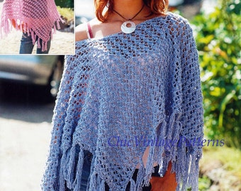 Knitted Poncho ... Lightweight Lacy Poncho ... Super Useful ... Instant Download ... Mother and Daughter Pattern ... PDF Knitting Pattern