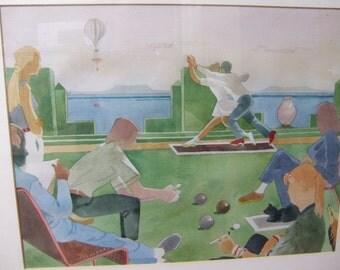 20th C Watercolour. The Bowling Green Dance. Sam Fenton