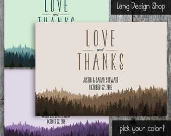 Mountain Thank You Card for a Rustic wedding