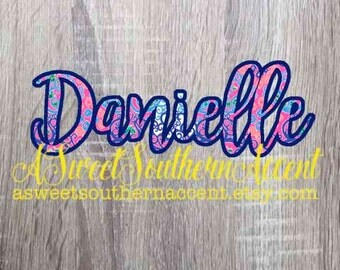 Lily Pulitzer Inspired decal, name decal, name yeti decal, window decal, rambler decal, car decal, pulitzer decal, monogram decal