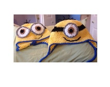 Minion hat, any size, made to order, baby to adult minion hat, one eyed minion hat, two eyed minion hat