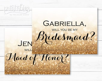 Gold Glitter Bridesmaid Card - Personalized Bridesmaid Cards - Wedding Entourage Gold Maid of Honor Cards - Custom Bridesmaid Proposal Card