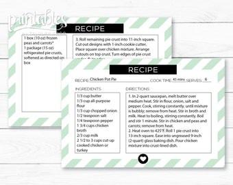 Editable Recipe Card PDF - Digital Recipe Cards DIY - Printable Recipe Card Stripes - Instant Download Mint Green Recipe Cards 4x6 Template