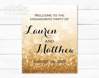 Engagement Welcome Sign Gold Glitter, Engagement Party Sign Printable, Formal Engagement Party Decor, Custom Engagement Party Banner Modern