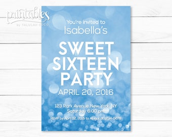 Sweet Sixteen Invitation, Printable Sweet 16 Invites Blue, Pool Party Invitations, Swimming Party Digital Invitation, Quinceanera Invitation