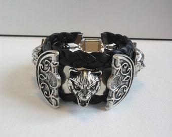 Bracelet men, wolves, piece unique, handmade