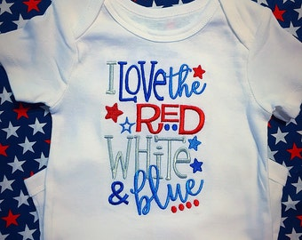 Red white and blue one piece  / 4th of July baby shirt / holiday shirt
