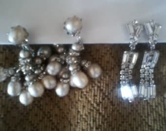 Rhinestone/Tassel Clip On Earrings-2 Pairs