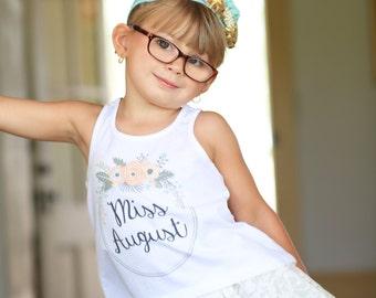 Miss August Shirt Miss August Tank Birthday Shirt Baby Girl Birthday Tank Top Miss August Birthday Girl Tank Top Birthday Tank