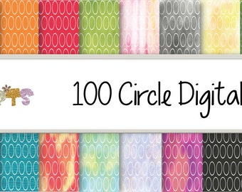 100 Circles digital Papers